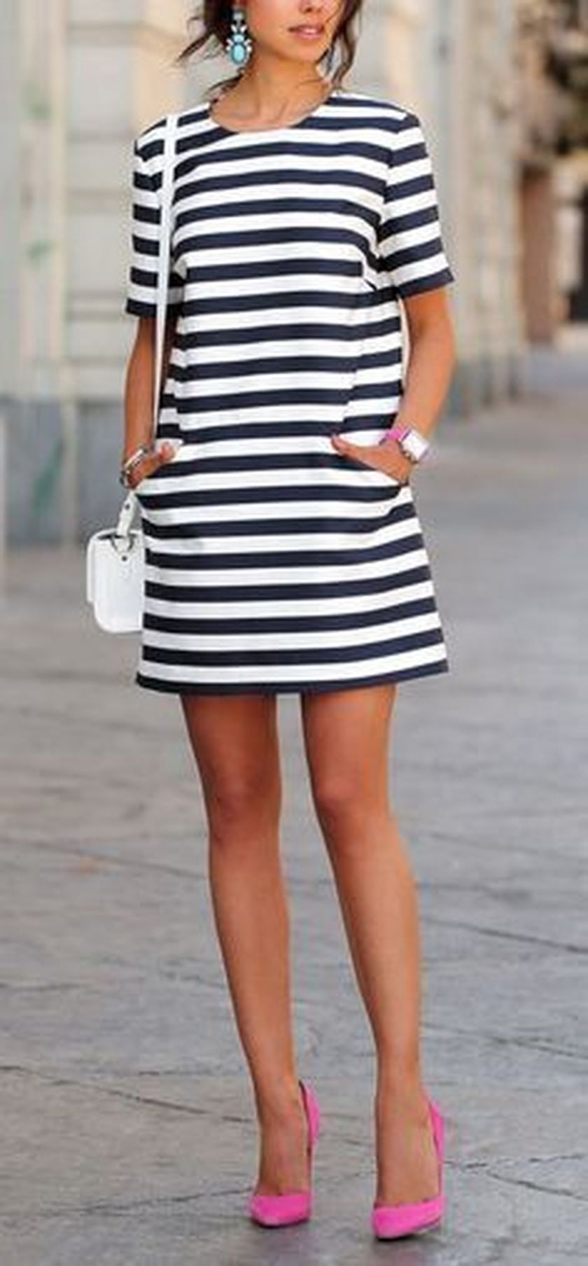 70 Fabulous Casual Black White Striped Midi Dress Outfit
