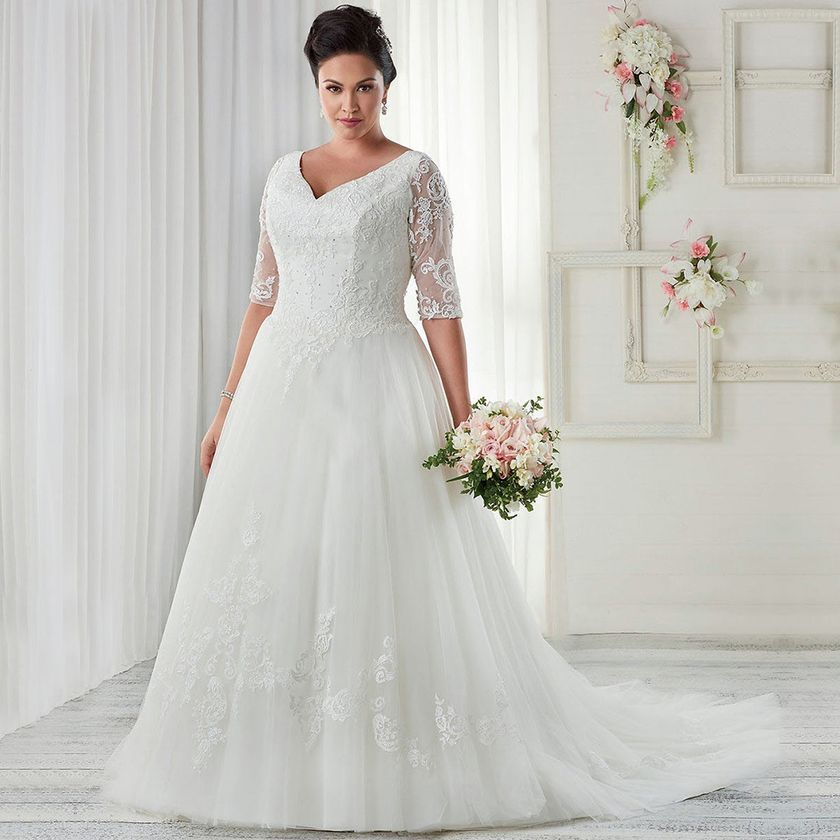 plus size wedding dresses with sleeves 32   fashion best