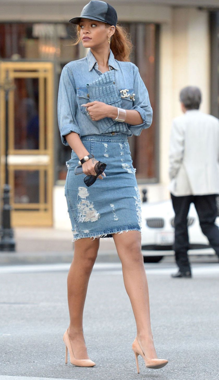 Rihanna Denim Outfit Street Style 19 Fashion Best