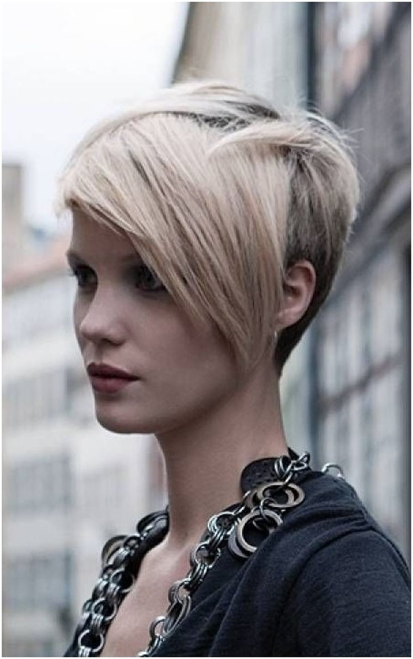 Funky short pixie haircut with long bangs  ideas 100