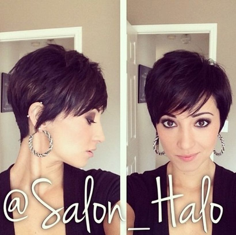Funky short pixie haircut with long bangs  ideas 35