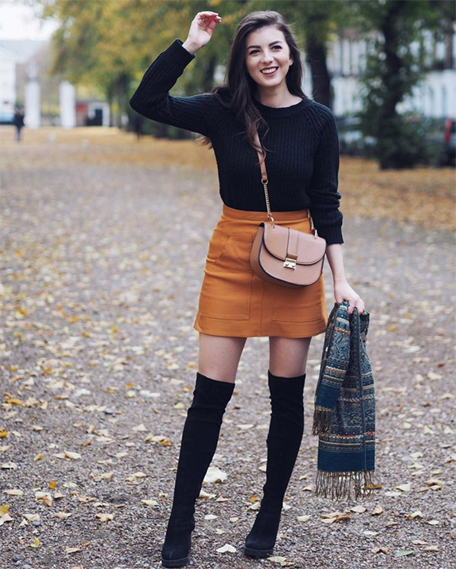 Inspiring skirt and boots combinations for fall and winter outfits ... b178c2460