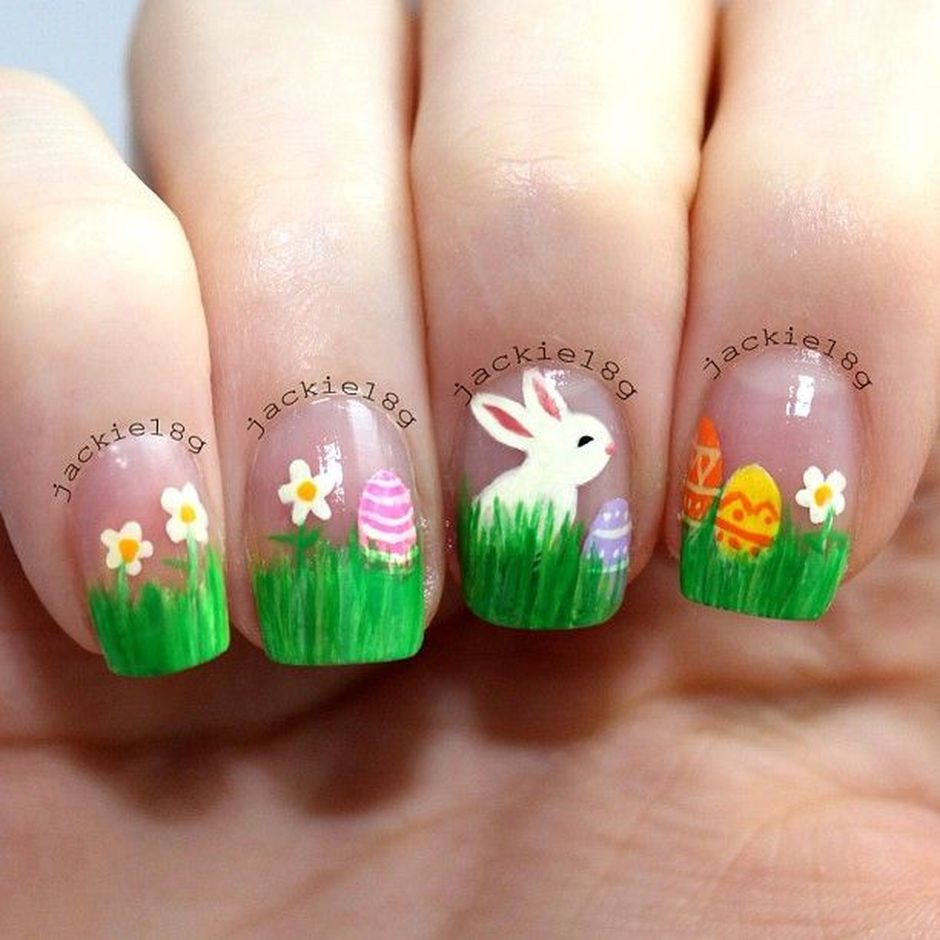 Ehmkay Nails Shy Bunny Easter Nail Art: Cute And Easy Easter Nail Art Design Ideas 15