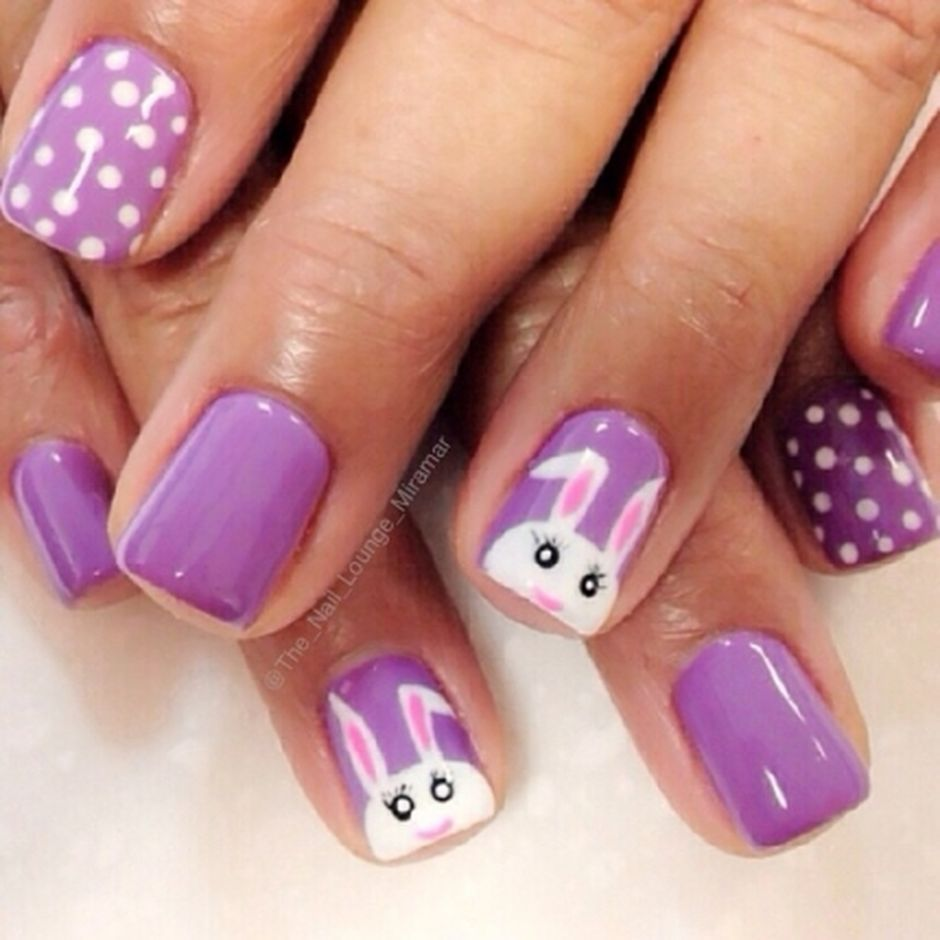 Ehmkay Nails Shy Bunny Easter Nail Art: Cute And Easy Easter Nail Art Design Ideas 24