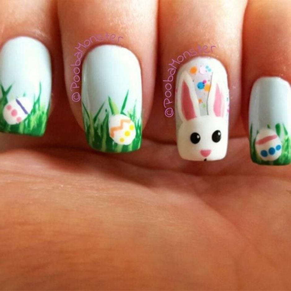 Ehmkay Nails Shy Bunny Easter Nail Art: Cute And Easy Easter Nail Art Design Ideas 28