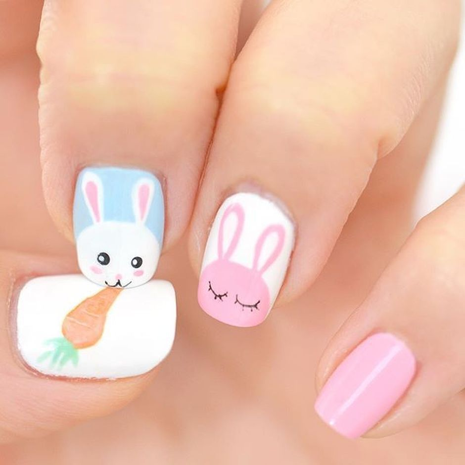 Ehmkay Nails Shy Bunny Easter Nail Art: Cute And Easy Easter Nail Art Design Ideas 44
