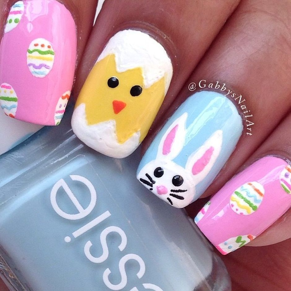 Ehmkay Nails Shy Bunny Easter Nail Art: Cute And Easy Easter Nail Art Design Ideas 9
